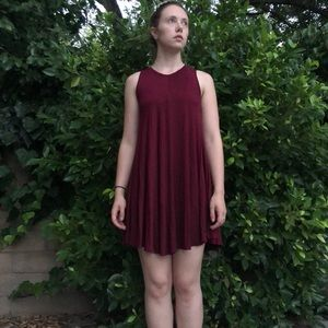 Burgundy Urban Outfitters comfy shift dress